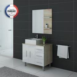 Meuble salle de bain simple vasque FLORENCE Scandinave et Blanc
