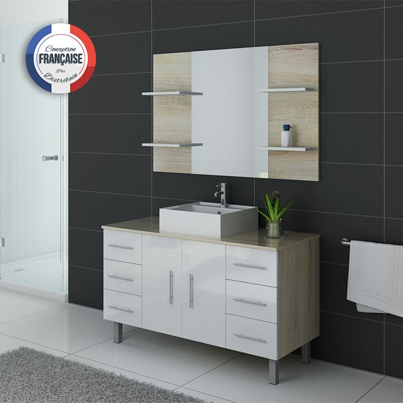meuble de salle de bain bicolore turin meuble de salle de bain bicolore 1 vasque salledebain. Black Bedroom Furniture Sets. Home Design Ideas