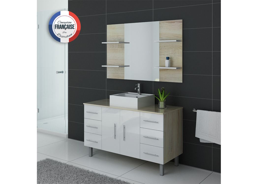 meuble de salle de bain bicolore 1 vasque ensemble de salle de bain blanc et scandinave sur pieds. Black Bedroom Furniture Sets. Home Design Ideas