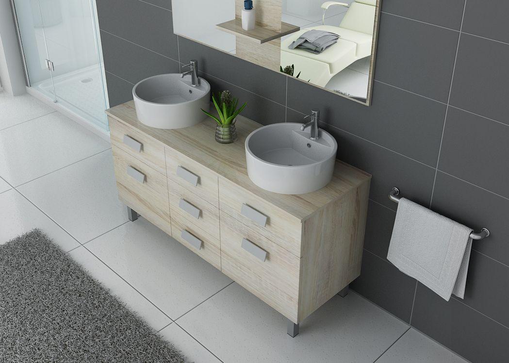 Meuble de salle de bain double vasque ref dis911sc for Meuble vasque sur pied salle de bain