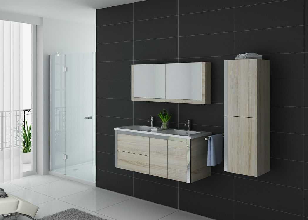 Meuble salle de bain ref dis025 1200sc for Ensemble salle de bain bois