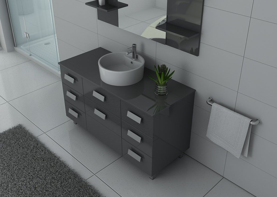 Meuble de salle de bain simple vasque ref imperial gt for Meuble gris