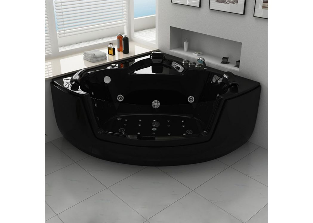 baignoire baln o d 39 angle noire belle le black. Black Bedroom Furniture Sets. Home Design Ideas