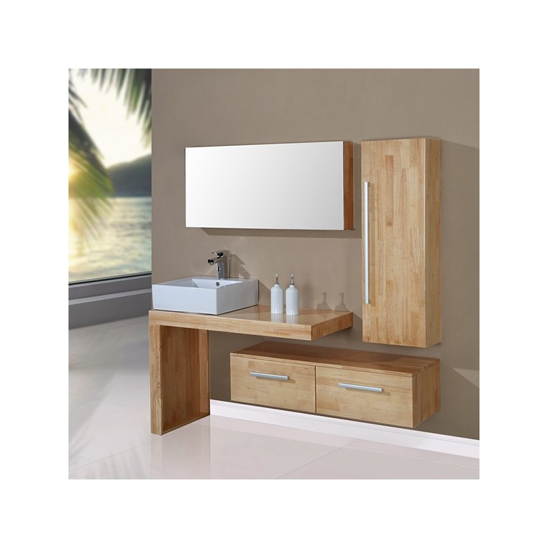 meuble salle de bain de luxe coloris bois naturel r f. Black Bedroom Furniture Sets. Home Design Ideas