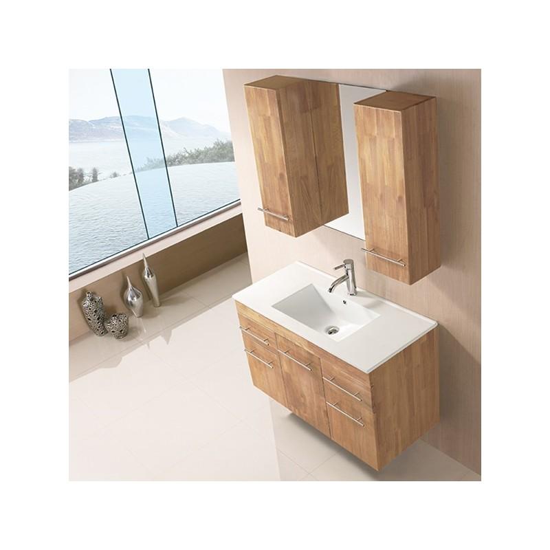 Sd961bn meuble salle de bain coloris bois naturel for Solde meuble salle de bain