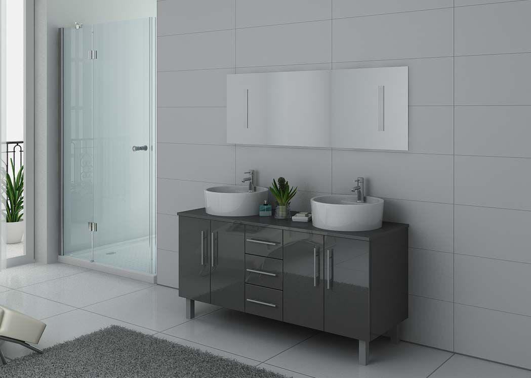 Meuble salle de bain ref dis989gt coloris gris taupe for Meuble sdb gris