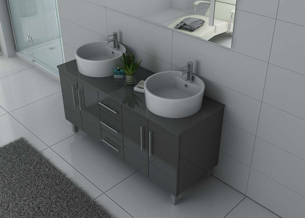 meuble de salle de bain gris taupe ref dis989gt meuble de salle de bain gris taupe 2 vasques. Black Bedroom Furniture Sets. Home Design Ideas