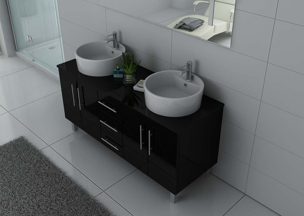 Meuble double vasque noir brillant meuble double vasque for Element salle de bain