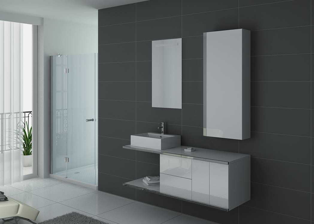 Meuble de salle de bain simple vasque blanc et inox dis9450b for Meuble vasque simple