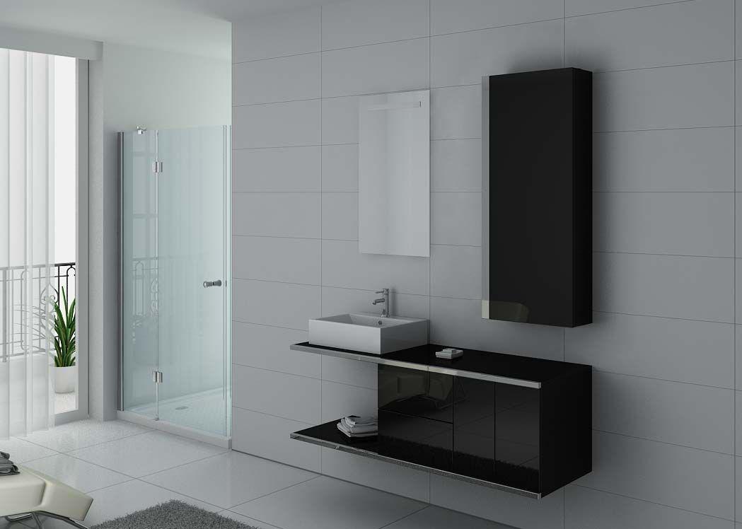 Meuble de salle de bain simple vasque noir dis9450n for Meuble vasque salle de bain soldes