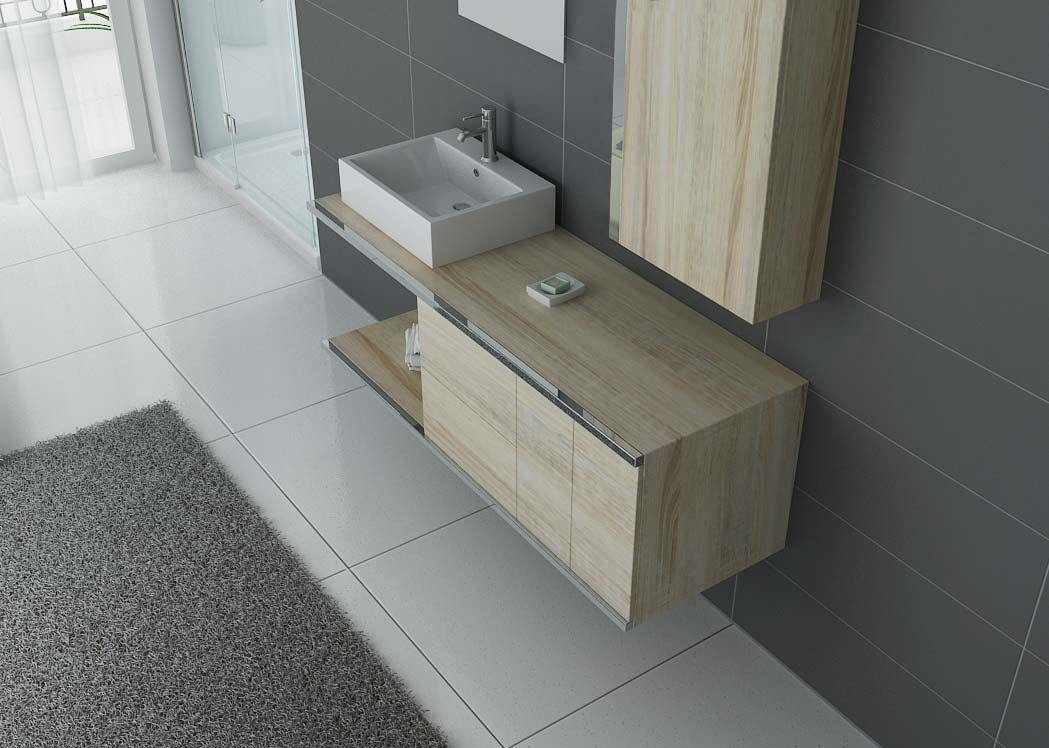 Meuble de salle de bain simple vasque scandinave dis9450sc for Meuble vasque simple