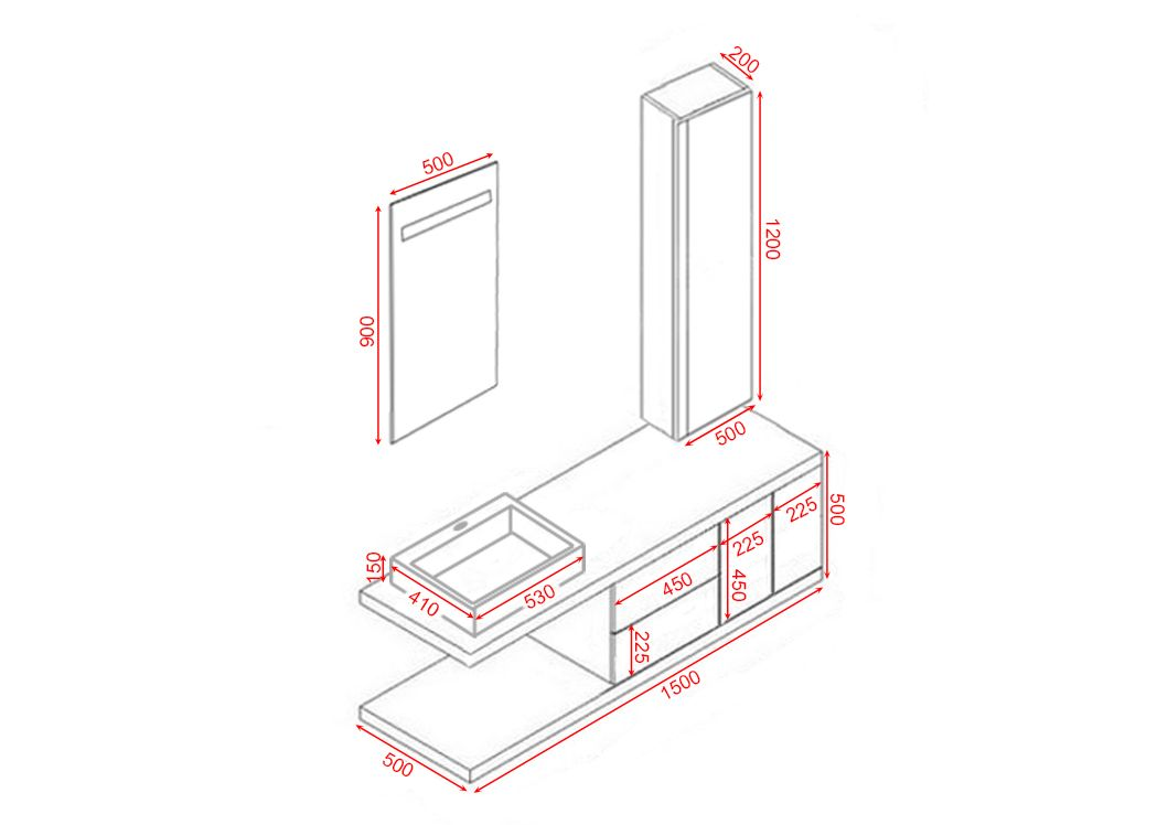 Meuble de salle de bain simple vasque scandinave dis9450sc for Salle de bain hors du commun