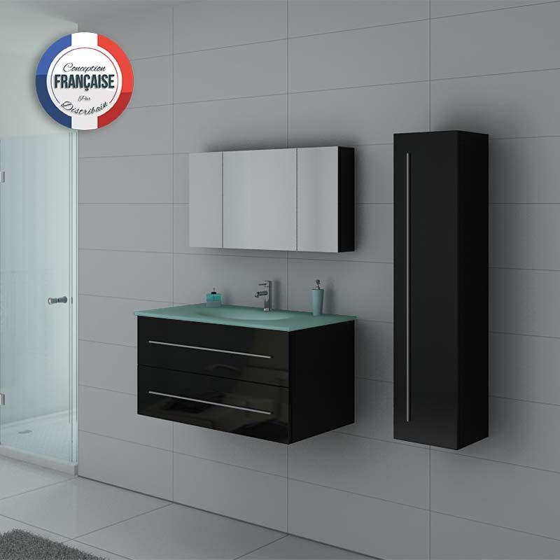 Meubles de salle de bain noirs suspendus DIS983N