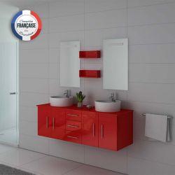 Meuble de salle de bain plein de rangements DIS747CO Coquelicot