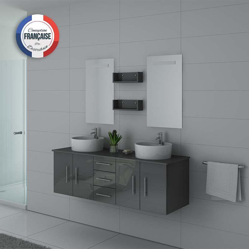 Meuble salle de bain double vasque gris taupe DIS747GT