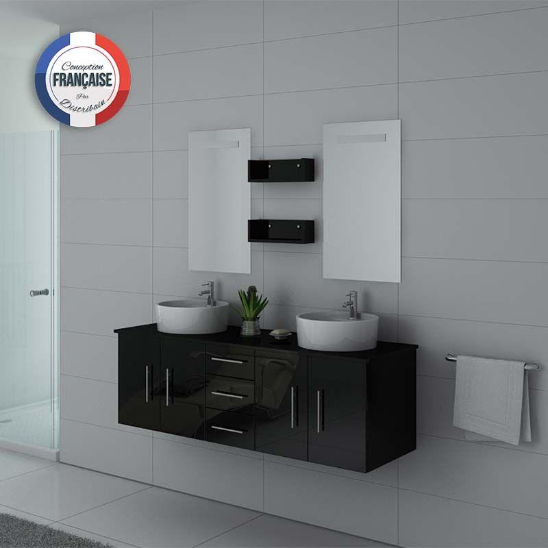 Meuble salle de bain noir laqué design et pratique DIS747N