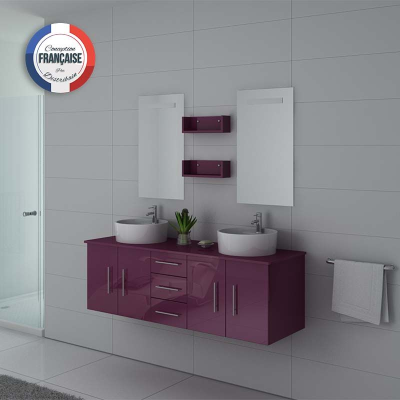 Ensemble de salle de bain simple vasque DIS747AU Aubergine
