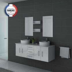 Ensemble double vasque avec miroirs DIS747B blanc