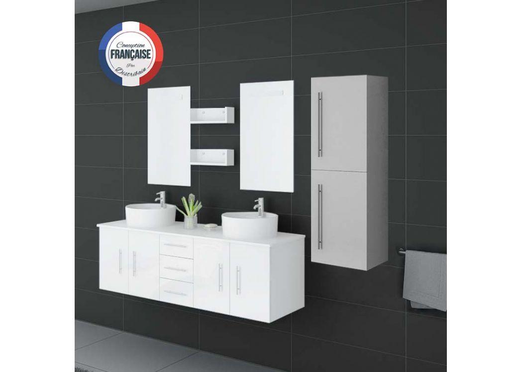 Colonne de rangement pour salle de bain blanche meuble for Colonne salle de bain jaune