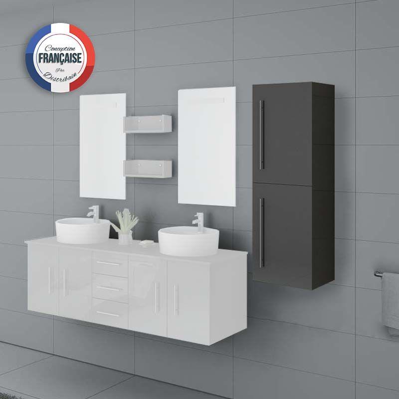 Meuble colonne COL747GT salle de bain gris taupe