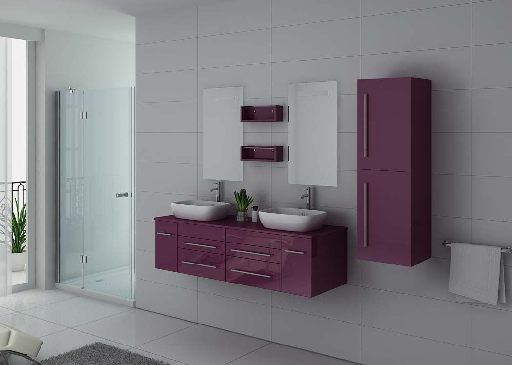 meuble de salle de bain couleur aubergine 2 vasques. Black Bedroom Furniture Sets. Home Design Ideas
