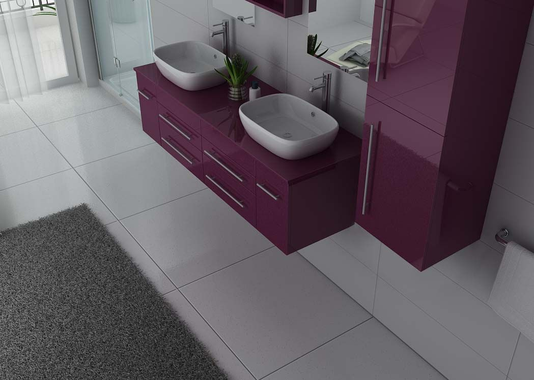 meuble de salle de bain couleur aubergine 2 vasques meuble de salle de bain aubergine ref dis748au. Black Bedroom Furniture Sets. Home Design Ideas