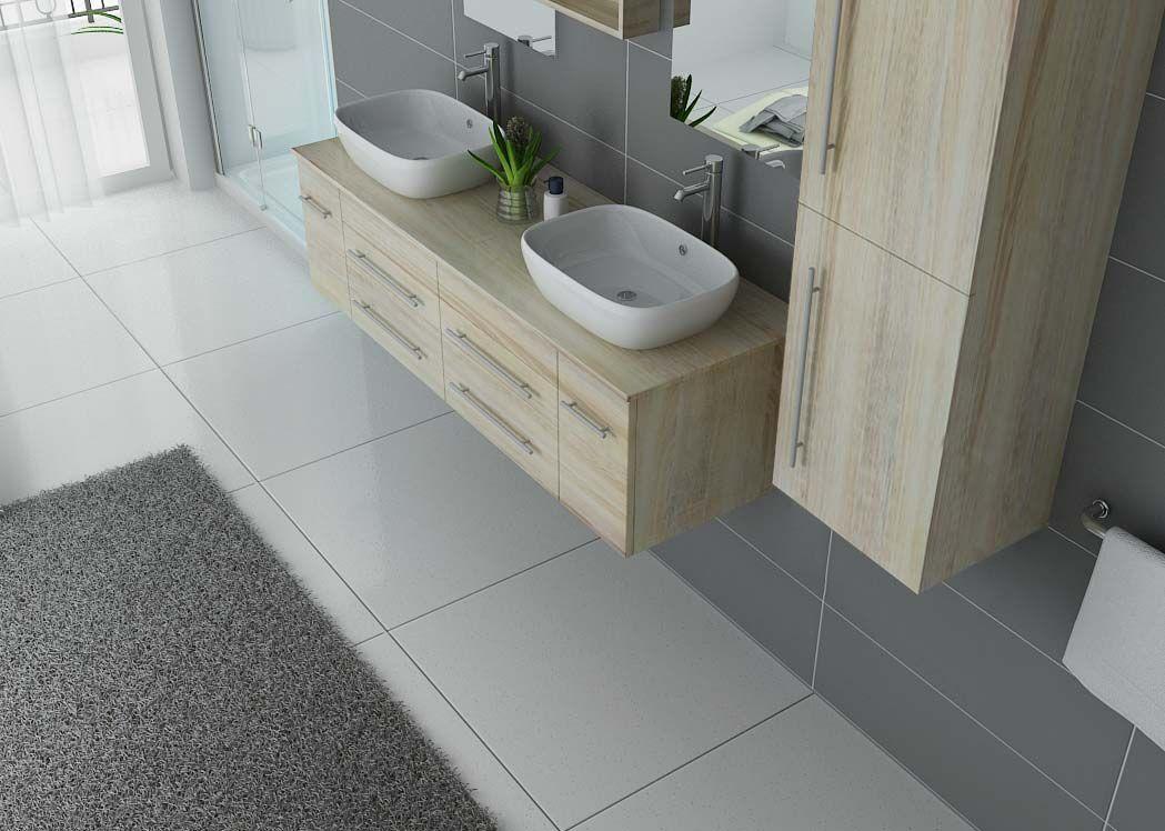 Meuble de salle de bain suspendu double vasque meuble double vasque suspendu dis748sc - Planete salle de bain ...