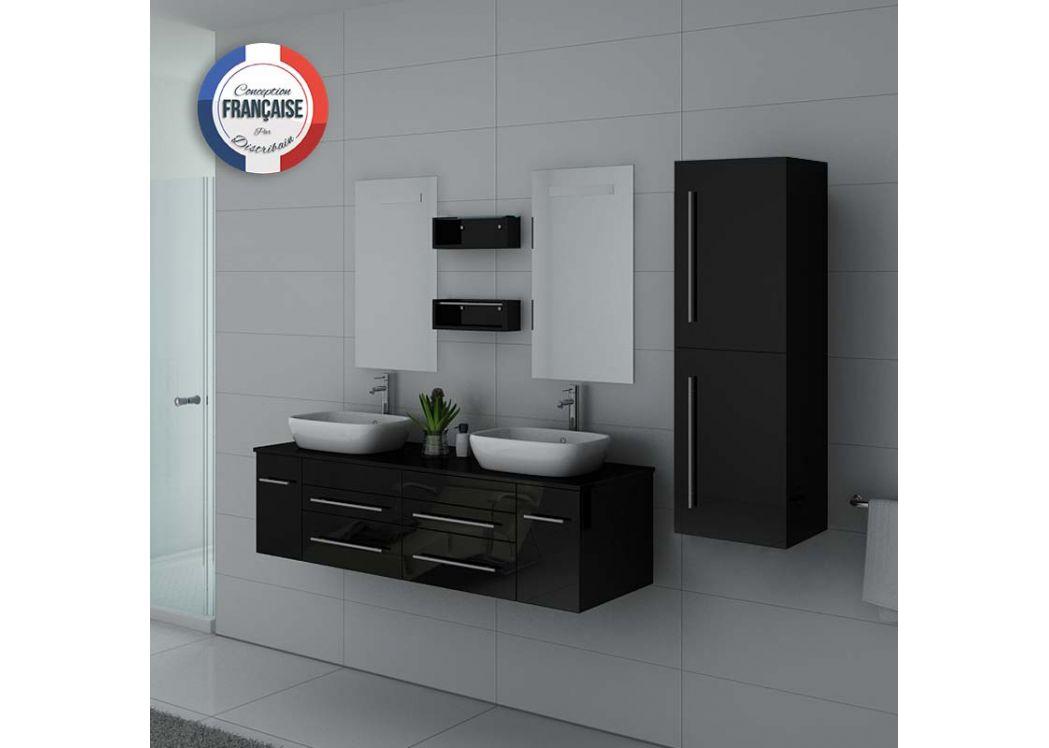 vasque avec colonne Meuble salle de bain double vasque avec colonne de rangement DIS748N Noir  ...