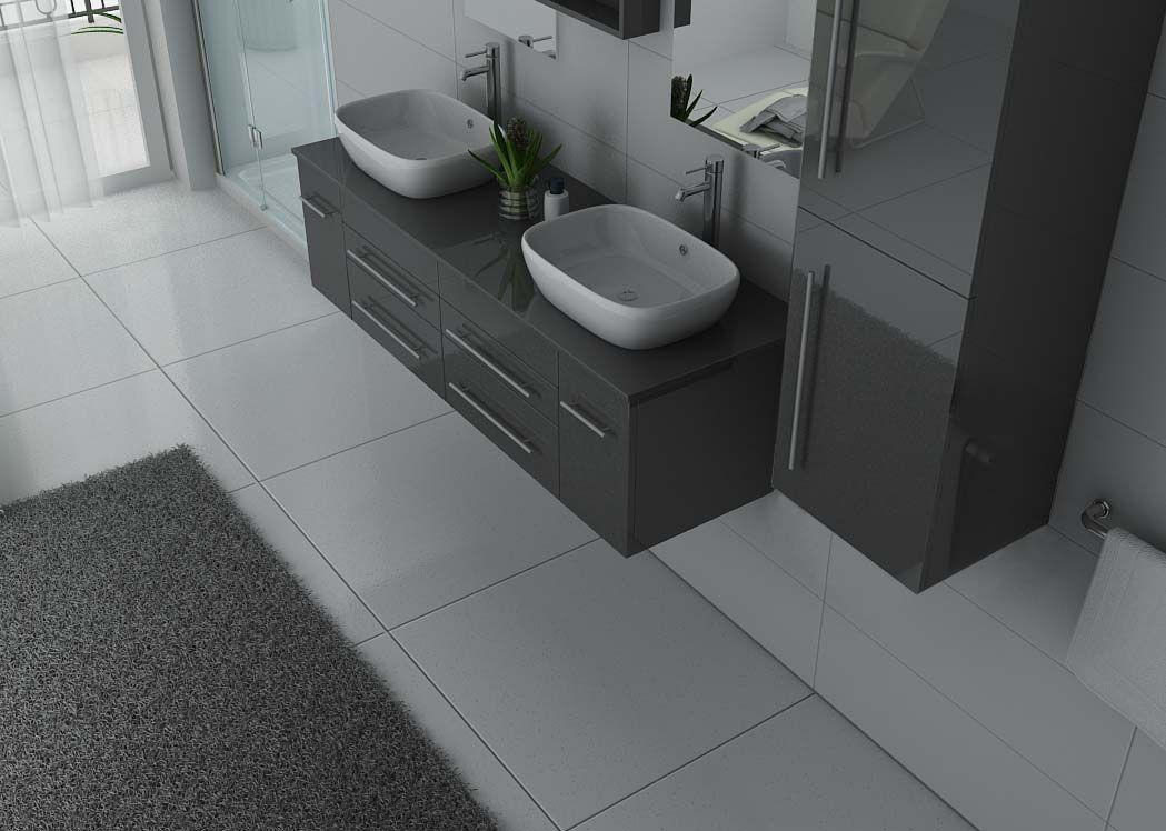 Meuble salle de bain ref dis748gt - Meuble salle de bain gris laque ...