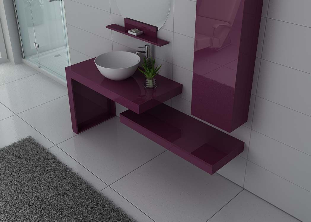 meuble salle de bain ref monza aubergine. Black Bedroom Furniture Sets. Home Design Ideas