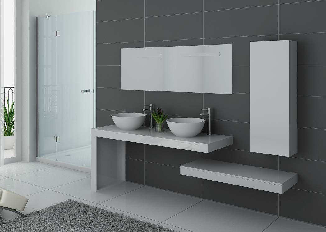 Meuble salle de bain ref monza duo blanc - Meubles salle de bain cedeo ...