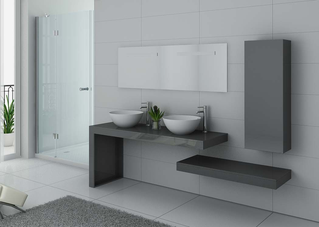 meuble salle de bain ref monza duo gris taupe. Black Bedroom Furniture Sets. Home Design Ideas