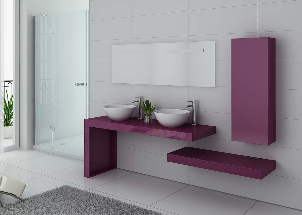 meuble salle de bain ref monza duo aubergine. Black Bedroom Furniture Sets. Home Design Ideas