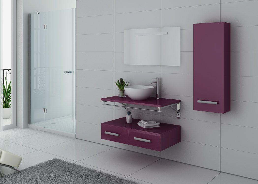 Meuble salle de bain 1 vasque ref virtuose aubergine - Meuble de salle de bain aubergine ...