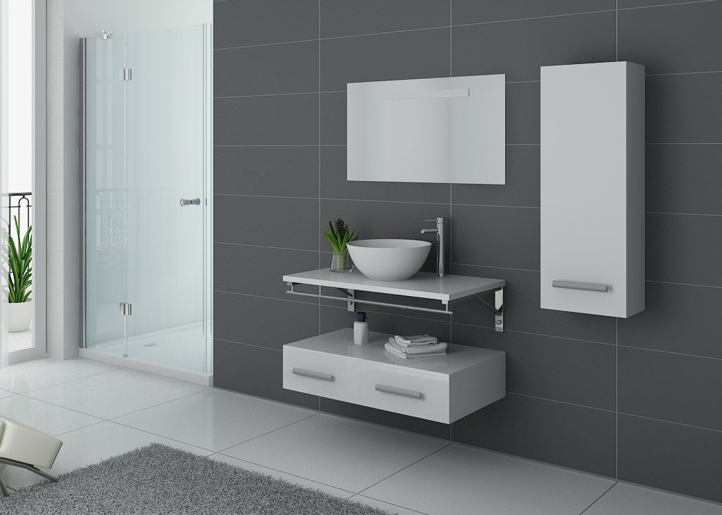 meuble salle de bain 1 vasque ref virtuose blanc. Black Bedroom Furniture Sets. Home Design Ideas