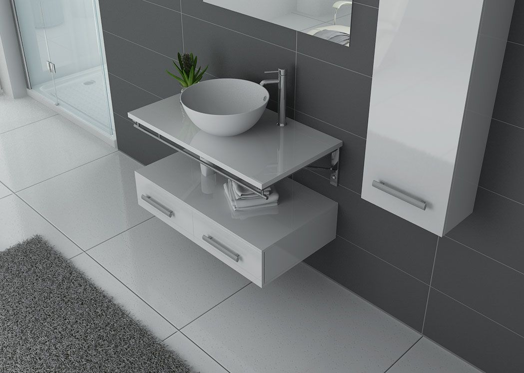 Meuble salle de bain 1 vasque ref virtuose blanc for Meuble vasque simple