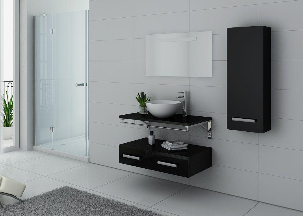 Meuble salle de bain 1 vasque ref virtuose noir for Meuble sdb noir