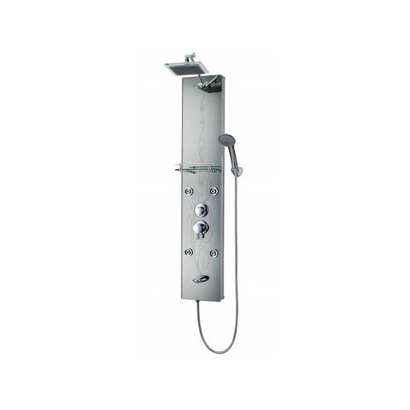 Colonne de douche en aluminium avec façade miroir grise sérigraphiée