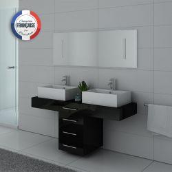 Meuble de salle de bain double vasque coloris Noir DIS988N