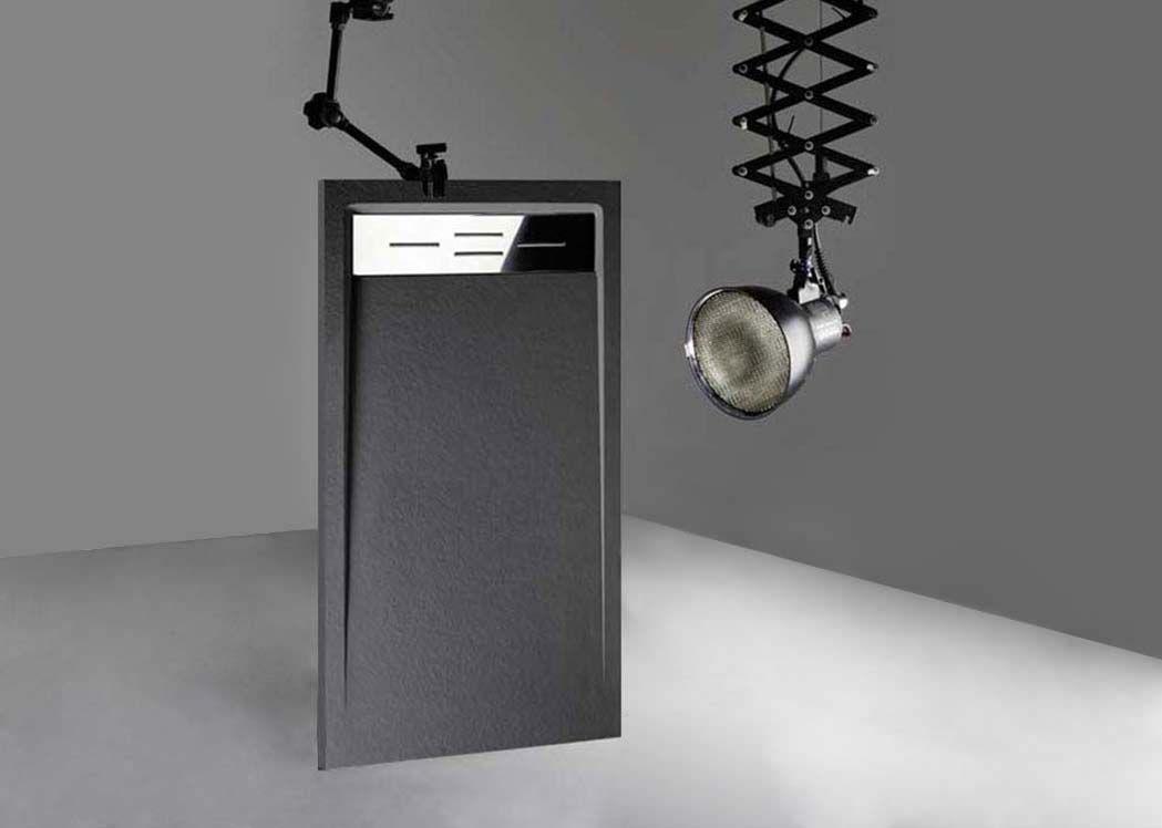 receveur de douche rectangulaire en gel coat canto graphite 160x80xm. Black Bedroom Furniture Sets. Home Design Ideas