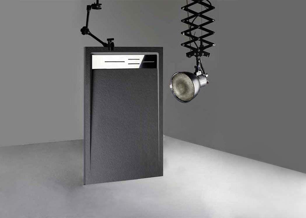 receveur de douche rectangulaire en gel coat canto graphite 160x90cm. Black Bedroom Furniture Sets. Home Design Ideas