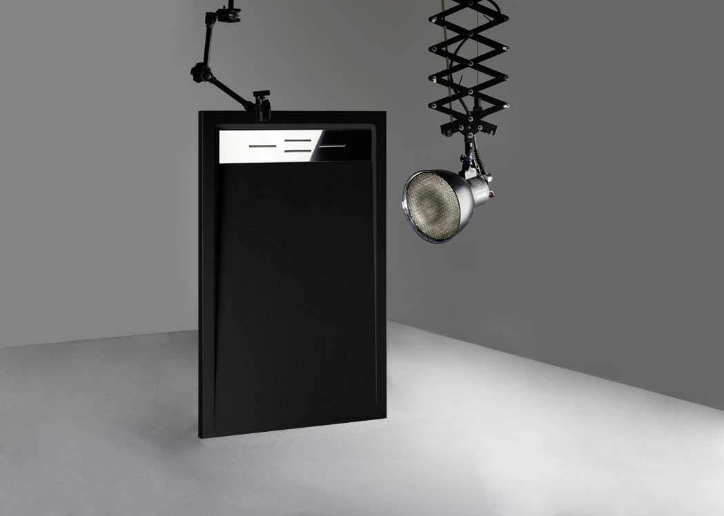 receveur de douche rectangulaire en gel coat canto noir. Black Bedroom Furniture Sets. Home Design Ideas