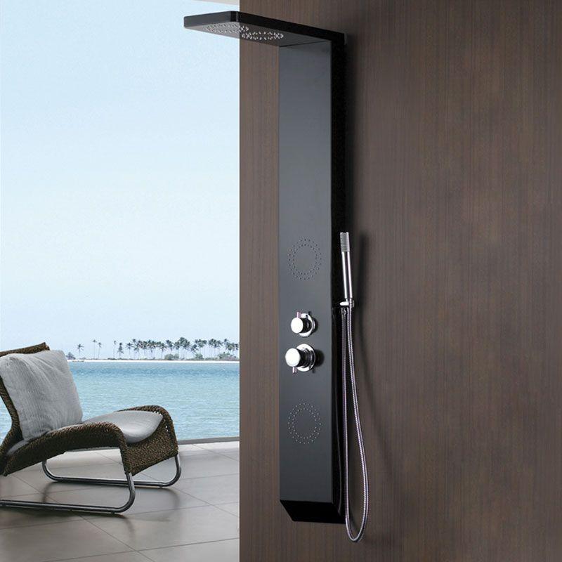Colonne d 39 hydromassage a110 colonne hydromassante noire mat for Meuble salle de bain online