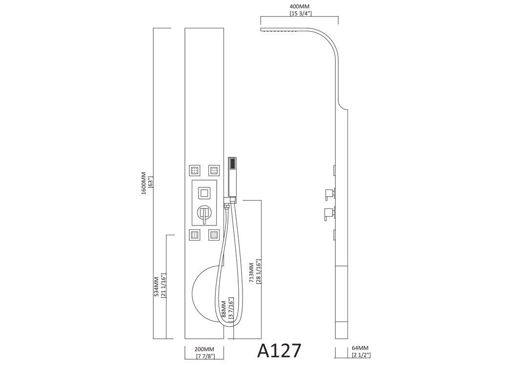 colonne d 39 hydromassage a127 colonne de douche design avec. Black Bedroom Furniture Sets. Home Design Ideas