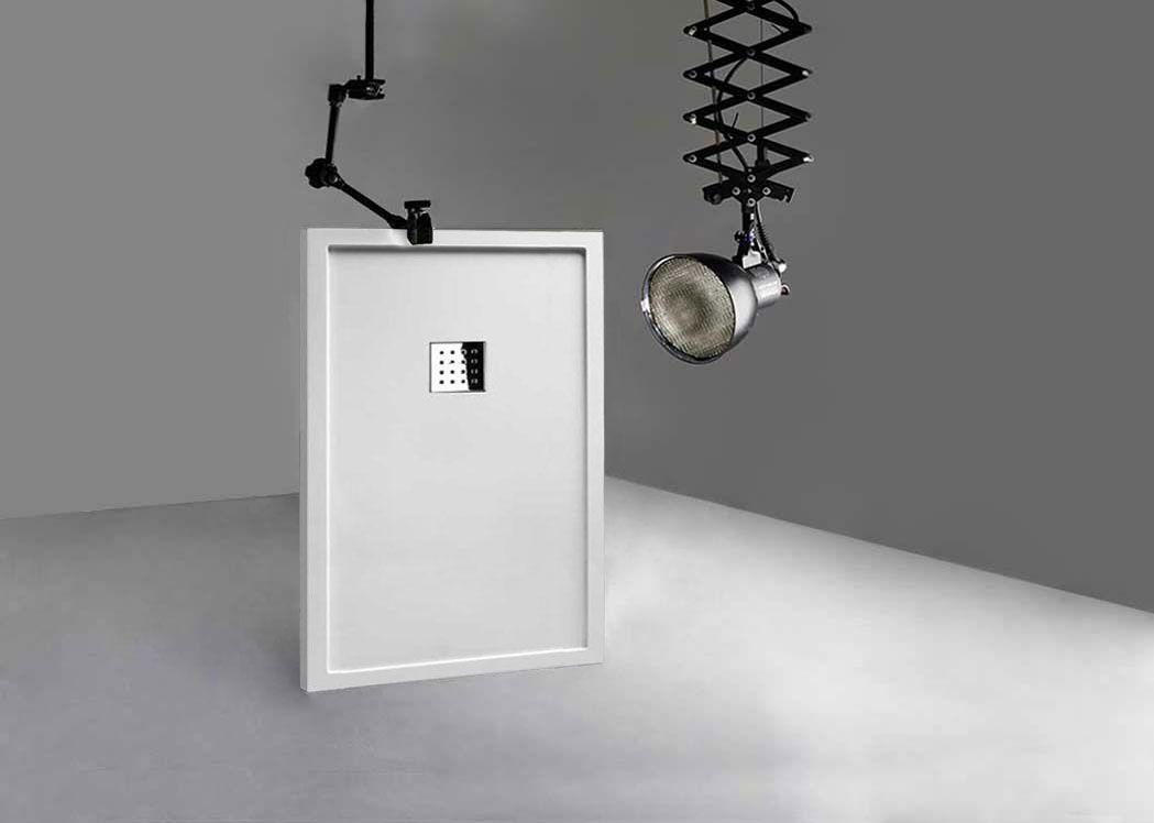 receveur de douche rectangulaire en gel coat avec rebords liso enmarcado blanc 140x90cm. Black Bedroom Furniture Sets. Home Design Ideas