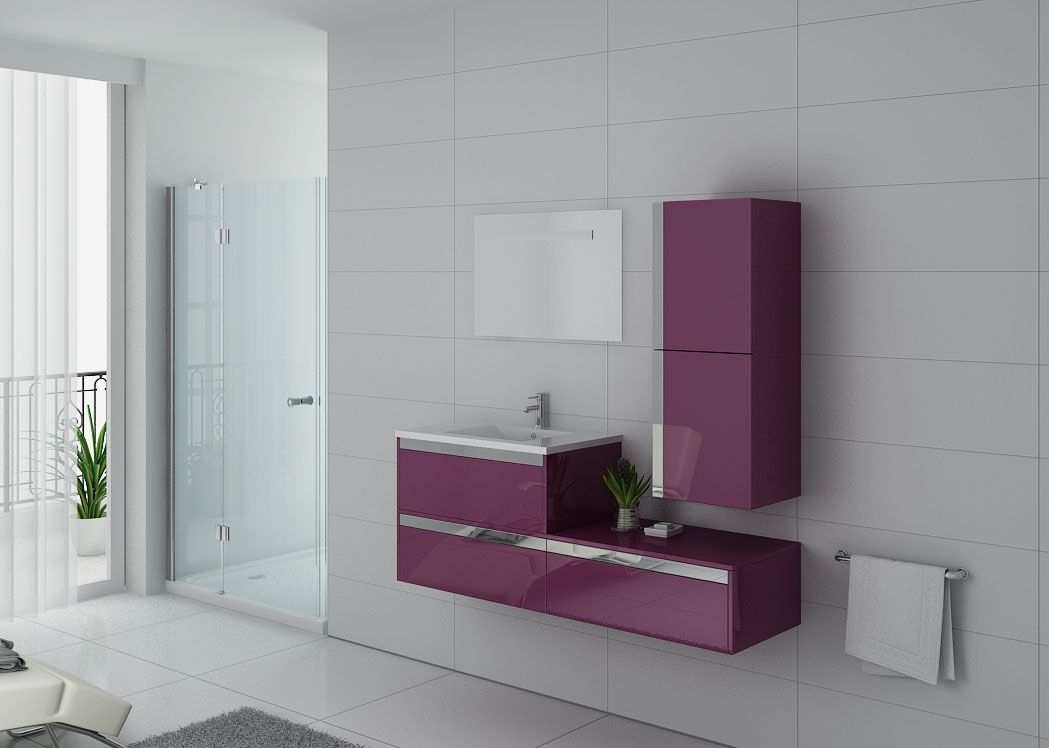 Meuble de salle de bain suspendu ensemble simple vasque aubergine ref sublissimo au - Meuble sdb simple vasque ...