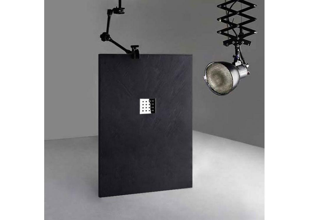 grand receveur de douche extra plat pizarra graphite 140x90 cm. Black Bedroom Furniture Sets. Home Design Ideas