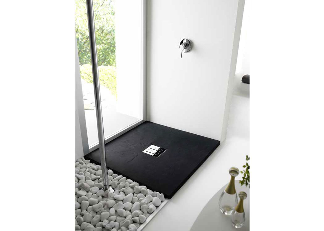 receveur de douche rectangulaire en gel coat 100x80 cm pizarra noir. Black Bedroom Furniture Sets. Home Design Ideas