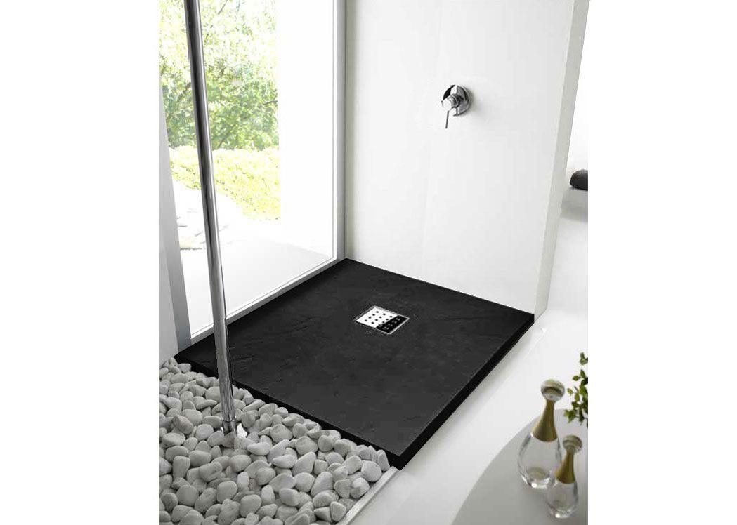 receveur de douche noir en gel coat receveur de douche noir 120x90 pizarra salledebain online. Black Bedroom Furniture Sets. Home Design Ideas