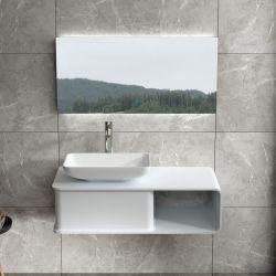 Plan de toilette SDVP6L avec vasque à poser carrée en solid surface